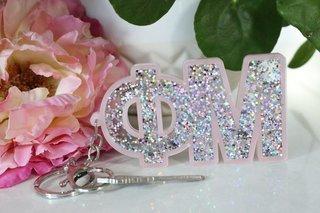 Phi Mu Glitter Keychain