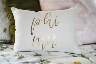 Phi Mu Gold Imprint Throw Pillow