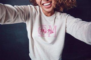 Phi Mu Greek Type Crewneck Sweatshirt