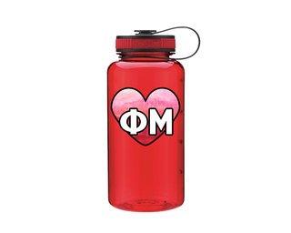 Phi Mu Heart Wide Mouth Water Bottle