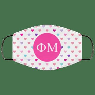 Phi Mu Hearts Face Mask