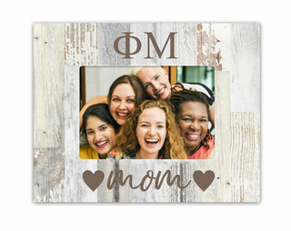 Phi Mu Hearts Faux Wood Picture Frame