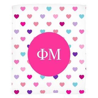 Phi Mu Hearts Fleece Blanket