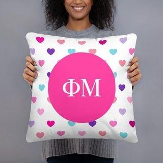 Phi Mu Hearts Pillow