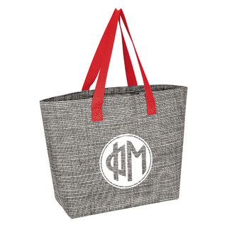 Phi Mu Heathered Mesh Tote Bag