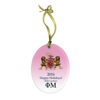 Phi Mu Holiday Color Crest - Shield Glass Ornament