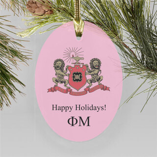 Phi Mu Holiday Color Crest - Shield Ornament