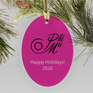 Phi Mu Holiday Color Mascot Christmas Ornament