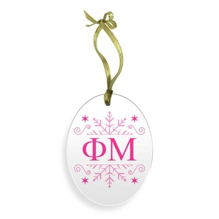 Phi Mu Holiday Color Snowflake Christmas Ornament