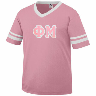 DISCOUNT-Phi Mu Jersey With Greek Applique Letters