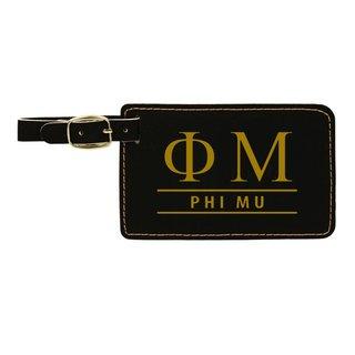 Phi Mu Leatherette Luggage Tag