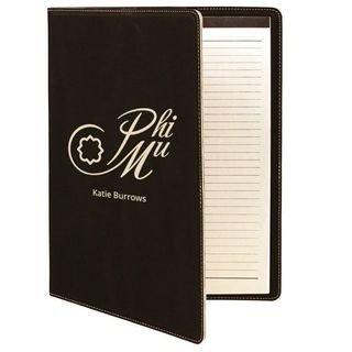 Phi Mu Leatherette Mascot Portfolio with Notepad