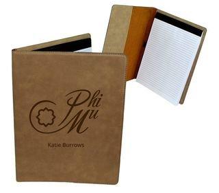 Phi Mu Mascot Leatherette Portfolio with Notepad