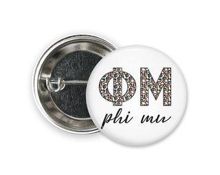 Phi Mu Leopard Button
