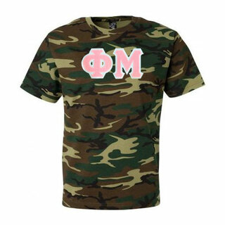 DISCOUNT-Phi Mu Lettered Camouflage T-Shirt