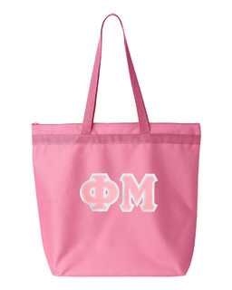 DISCOUNT-Phi Mu Lettered Game Day Tote