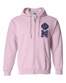 "Phi Mu Lettered Heavy Full-Zip Hooded Sweatshirt (3"" Letters)"