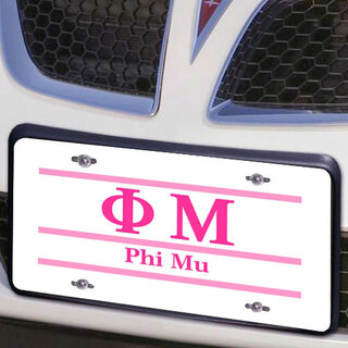 Phi Mu Lettered Lines License Cover