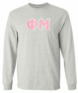 Phi Mu Lettered Long Sleeve Tee- MADE FAST!