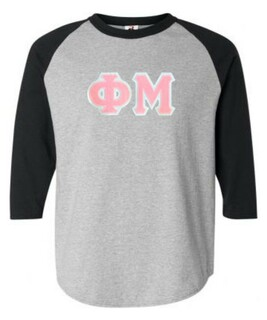 DISCOUNT-Phi Mu Lettered Raglan Shirt