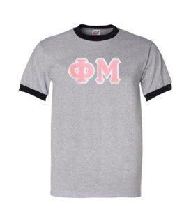 DISCOUNT-Phi Mu Lettered Ringer Shirt