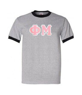 DISCOUNT-Phi Mu Lettered Ringer Shirt