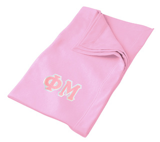 DISCOUNT-Phi Mu Lettered Twill Sweatshirt Blanket