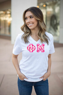 DISCOUNT-Phi Mu Lettered V-Neck Tee