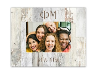 Phi Mu Letters Barnwood Picture Frame