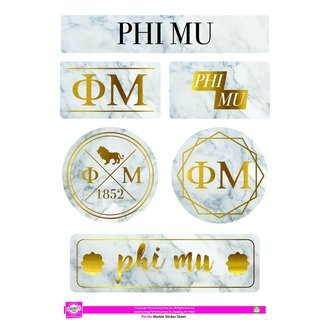 Phi Mu Marble Sticker Sheet