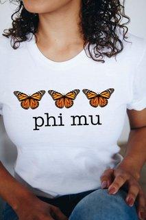Phi Mu Monarch Butterfly Short Sleeve T-Shirt - Comfort Colors