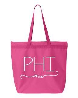Phi Mu New Handwriting Tote Bag