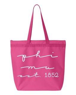 Phi Mu New Script Established Tote Bag