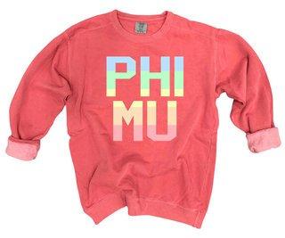 Phi Mu Pastel Rainbow Crew - Comfort Colors