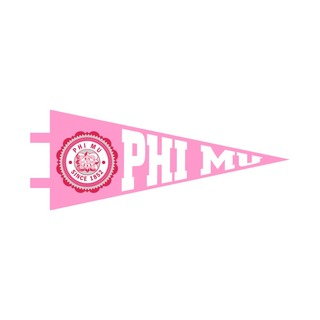 "Phi Mu Pennant Decal 4"" Wide"