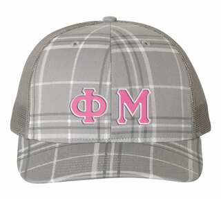 Phi Mu Plaid Snapback Trucker Hat - CLOSEOUT