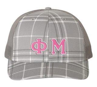 Phi Mu Plaid Snapback Trucker Hat