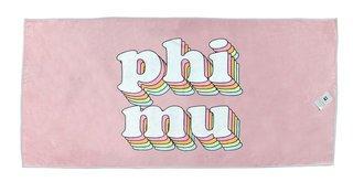 Phi Mu Plush Retro Beach Towel