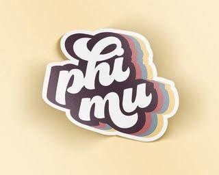 Phi Mu Retro Sticker