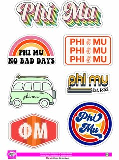 Phi Mu Retro Sticker Sheet