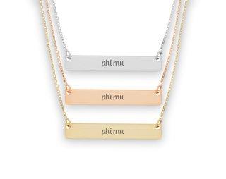Phi Mu Script Bar Necklace
