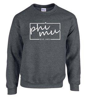 Phi Mu Script Box Crewneck Sweatshirt