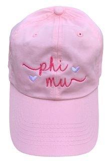 Phi Mu Script Hearts Ball Cap