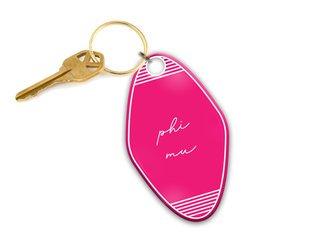 Phi Mu Script Motel Keychain