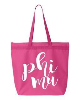 Phi Mu Script Tote bag
