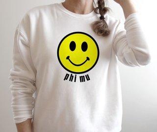 Phi Mu Smiley Face Crewneck Sweatshirt
