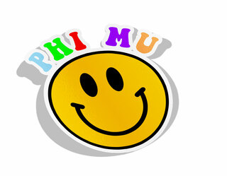 Phi Mu Smiley Face Decal Sticker