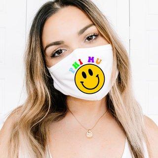 Phi Mu Smiley Face Face Mask