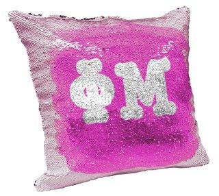 Phi Mu Sorority Flip Sequin Throw Pillow Cover