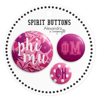 Phi Mu Sorority New Spirit Button Set